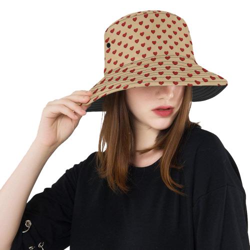 RETRO HEARTS PATTERN LADYLIKE All Over Print Bucket Hat