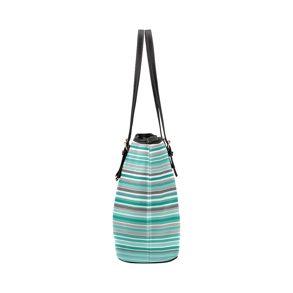 Turquoise Shades Stripes Leather Tote Bag/Small (Model 1651)