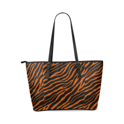 Ripped SpaceTime Stripes - Orange Leather Tote Bag/Large (Model 1640)