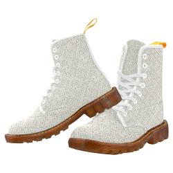 White 3D Geometric Pattern Martin Boots For Women Model 1203H