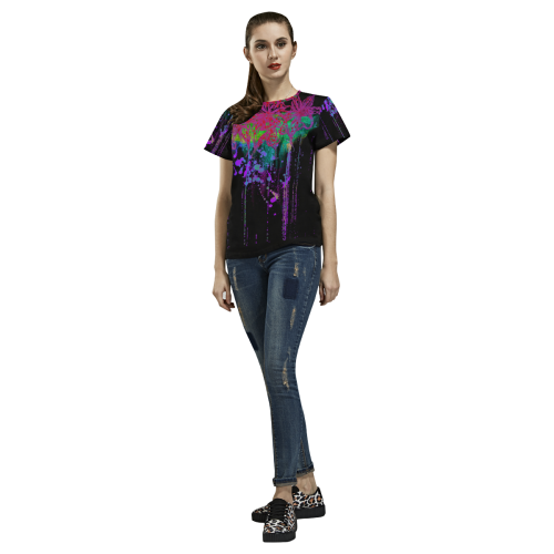 Watercolor lilies All Over Print T-Shirt for Women (USA Size) (Model T40)