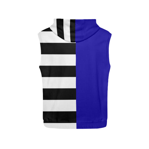 Blue and Stripes Mixed Print All Over Print Sleeveless Hoodie for Men (Model H15)