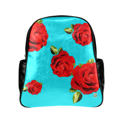Fairlings Delight's Floral Luxury Collection- Red Rose Multi-Pockets Backpack 53086b9 Multi-Pockets Backpack (Model 1636)