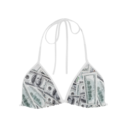 Cash Money / Hundred Dollar Bills  White Strap Custom Bikini Swimsuit Top