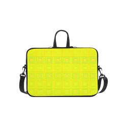 "Yellow multicolored multiple squares Laptop Handbags 14"""