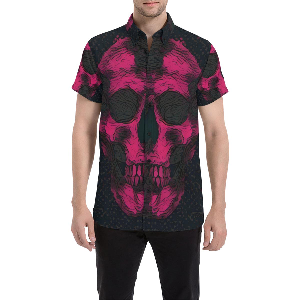 SKULL PINK ON BLACK ABSTRACT Men's All Over Print Short Sleeve Shirt (Model T53)