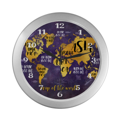 world map watch 4 Silver Color Wall Clock