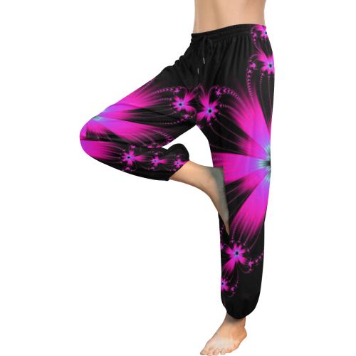 Pink Flower Burst Women's All Over Print Harem Pants (Model L18)