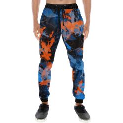Blue and Orange Graffiti Abstract Men's All Over Print Sweatpants (Model L11)