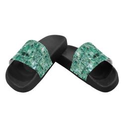 Modern Geo Fun, teal by JamColors Men's Slide Sandals (Model 057)