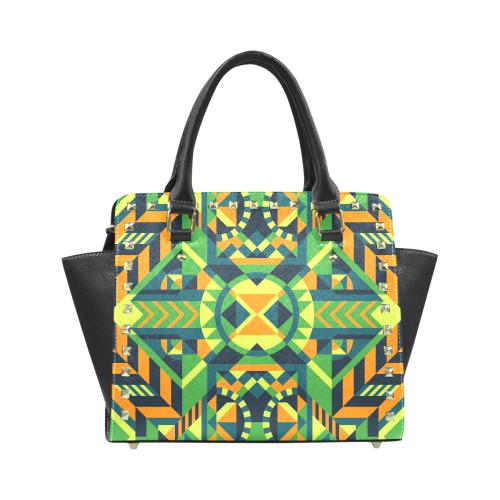 Modern Geometric Pattern Rivet Shoulder Handbag (Model 1645)