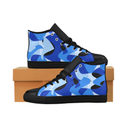 Camouflage Abstract Blue and Black Aquila High Top Microfiber Leather Women's Shoes (Model 027)