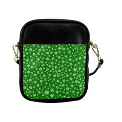 Christmas White Snowflakes on Green Sling Bag (Model 1627)