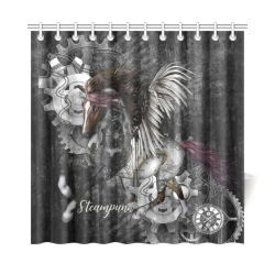 "Aweswome steampunk horse with wings Shower Curtain 72""x72"""