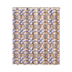 """Blue glass pattern in brown background. New Window Curtain 52"""" x 63""""(One Piece)"""