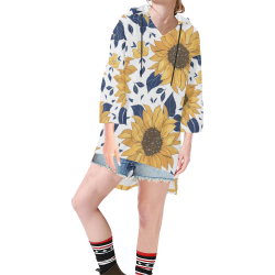 Sunflowers Step Hem Tunic for Woment Step Hem Tunic Hoodie for Women (Model H25)