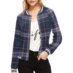stripe blue pink All Over Print Bomber Jacket for Women (Model H21)
