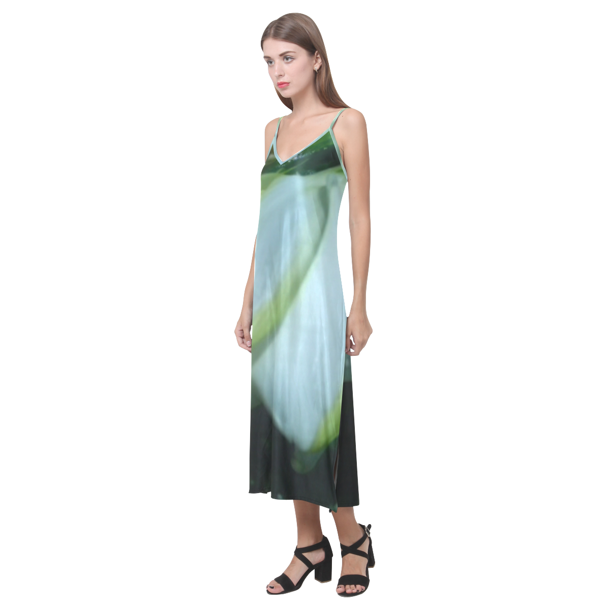 Green Envy (Fantasy wedding) V-Neck Open Fork Long Dress(Model D18)
