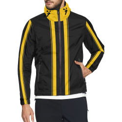 Race Car Stripes Black and Yellow Unisex All Over Print Windbreaker (Model H23)