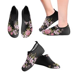 Pure Nature - Summer Of Pink Roses 1 Women's Slip-On Water Shoes (Model 056)