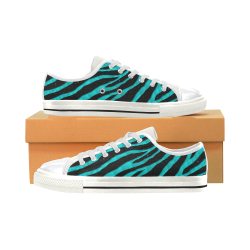 Ripped SpaceTime Stripes - Cyan Canvas Women's Shoes/Large Size (Model 018)