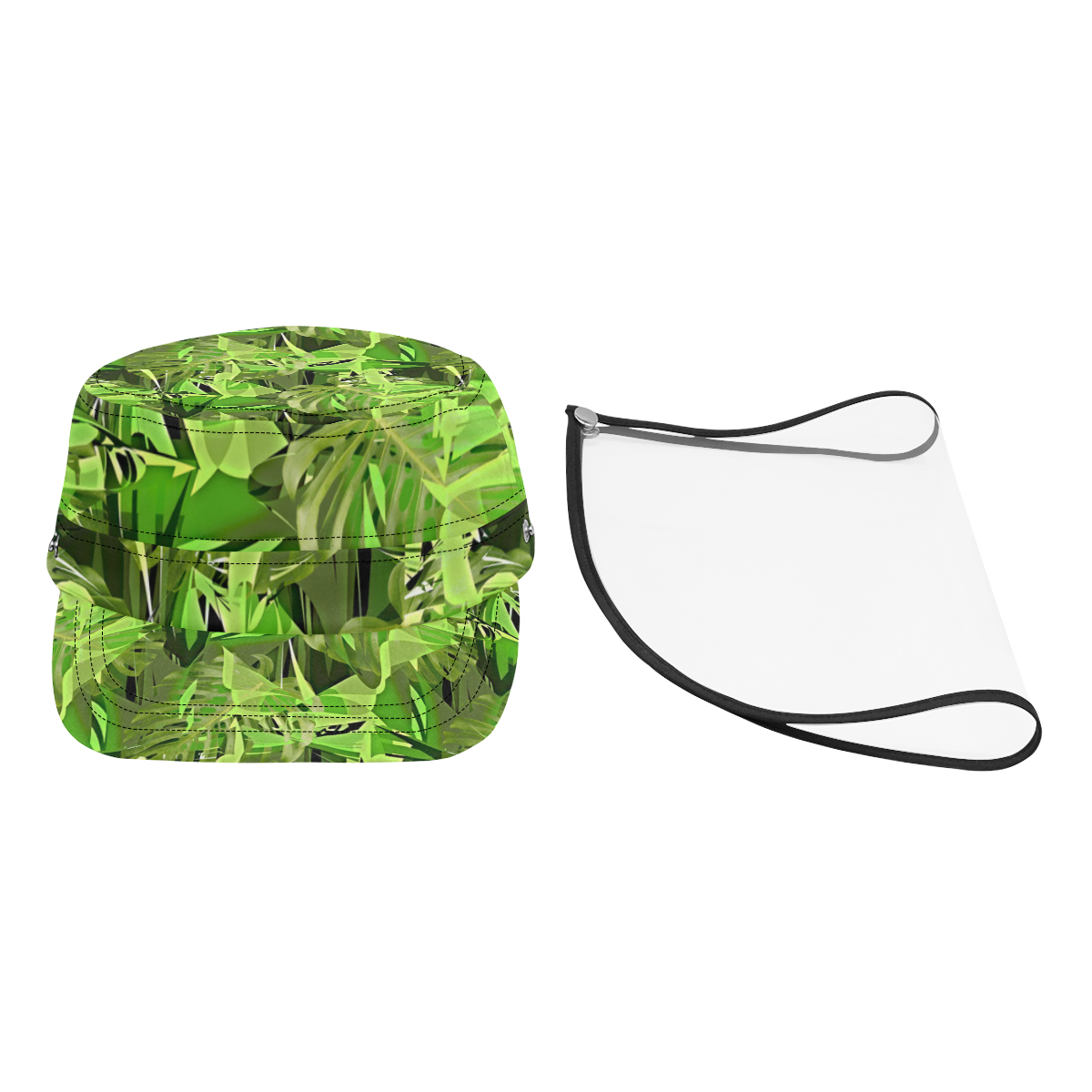 Tropical Jungle Leaves Camouflage Military Style Cap (Detachable Face Shield)