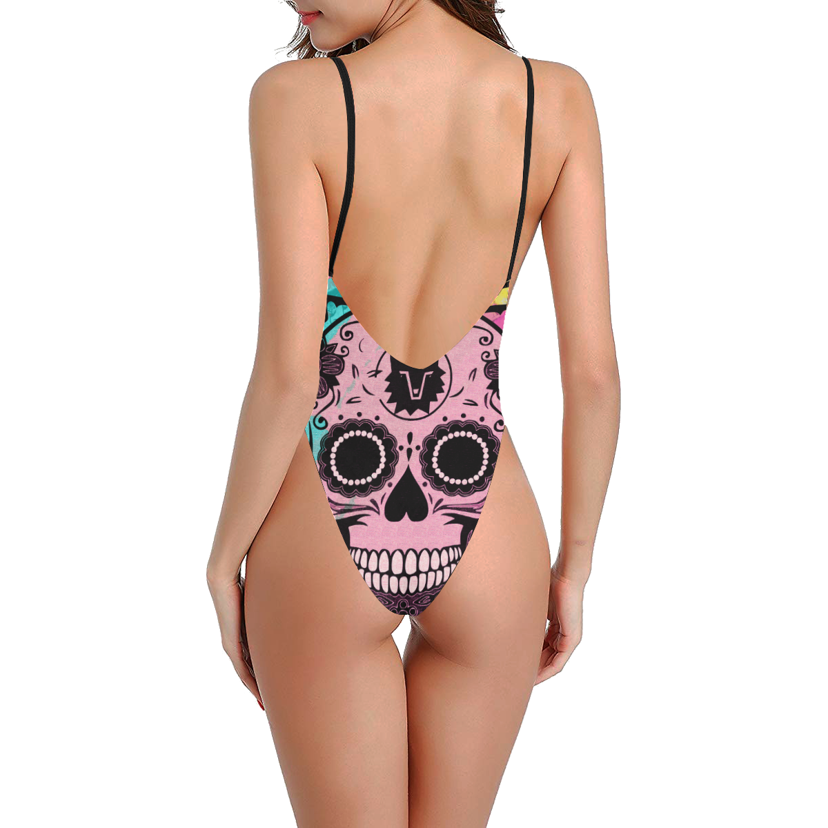 SKULL ART PINK Sexy Low Back One-Piece Swimsuit (Model S09)