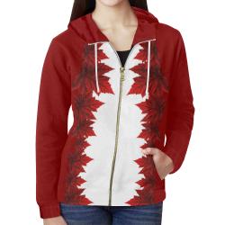 Canada Maple Leaf Zipper Hoodies All Over Print Full Zip Hoodie for Women (Model H14)
