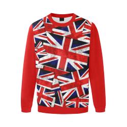 Union Jack British UK Flag  (Vest Style) Red Men's Oversized Fleece Crew Sweatshirt/Large Size(Model H18)