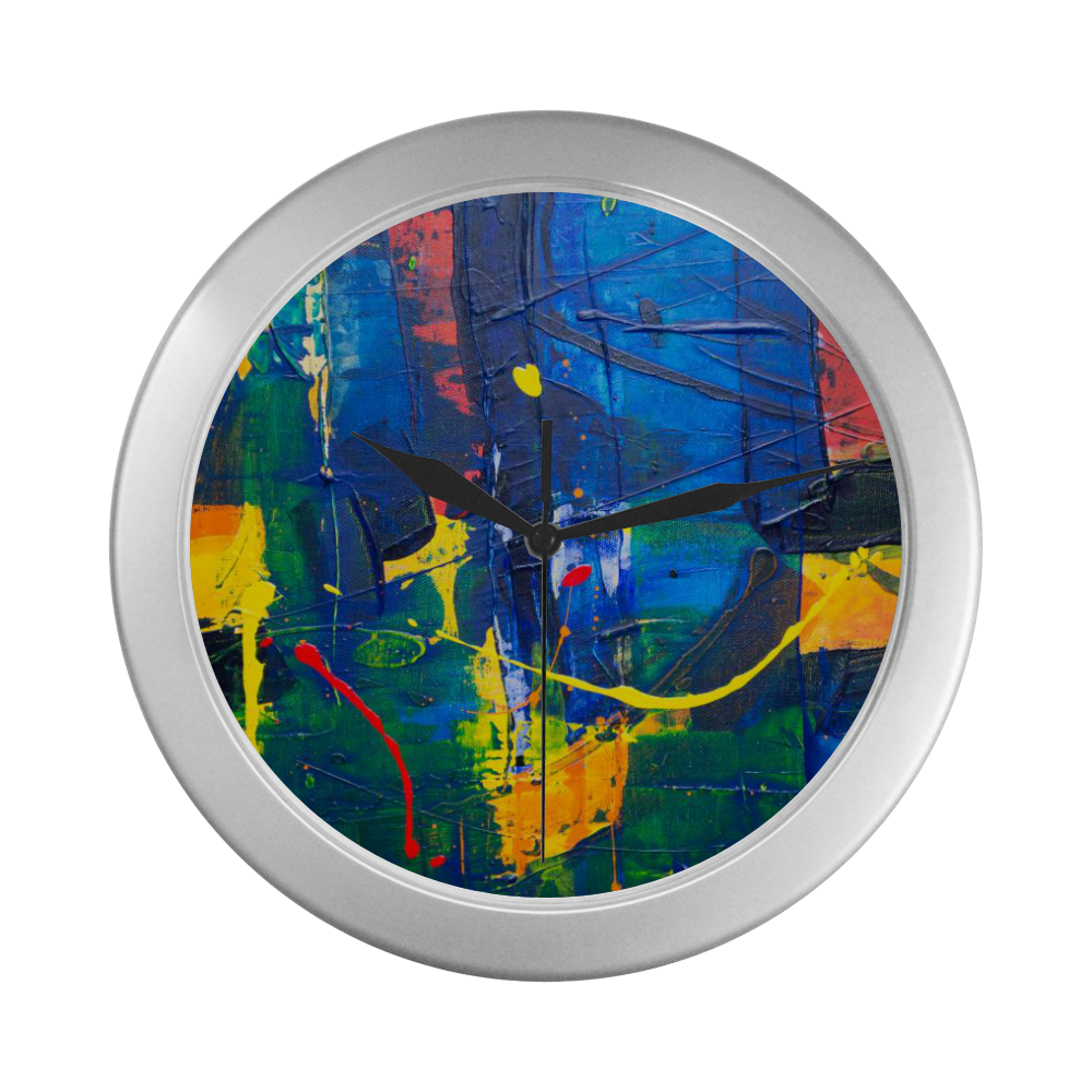 Silver Frame Wall Clock Classic Graphic Expressionism Style Wall Art Clock Silver Color Wall Clock