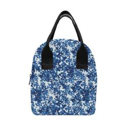 Digital Blue Camouflage Zipper Lunch Bag (Model 1689)