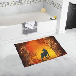 Wonderful black wolf in the night Bath Rug 20''x 32''