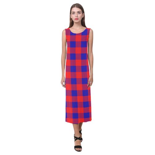 Red and Blue Checkered Phaedra Sleeveless Open Fork Long Dress (Model D08)