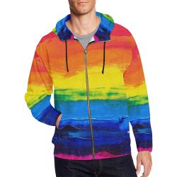 Gay Pride Rainbow Flag Painting All Over Print Full Zip Hoodie for Men (Model H14)