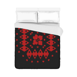 """Black and Red Playing Card Shapes Round on Black Duvet Cover 86""""x70"""" ( All-over-print)"""