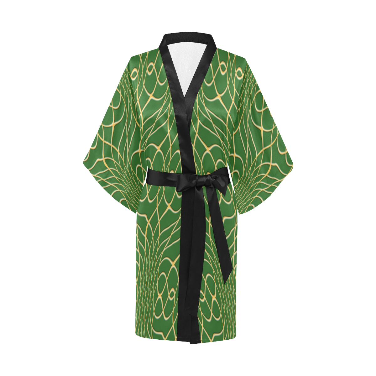 Green Orange Pineapple Twist Kimono Robe