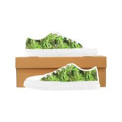 Tropical Jungle Leaves Camouflage Women's Canvas Zipper Shoes (Model 001)