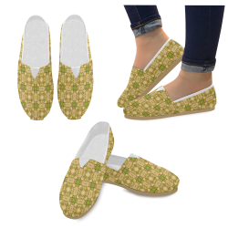 Irish Green Gold Damask Casual Shoes for Women (Model 004)