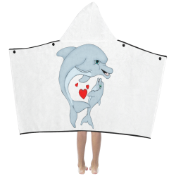 Dolphin Love White Kids' Hooded Bath Towels