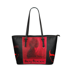 Numan tote bag red black Leather Tote Bag/Small (Model 1640)