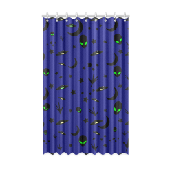 "Alien Flying Saucers Stars Pattern Window Curtain 52"" x 84""(One Piece)"
