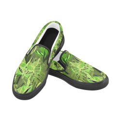 Tropical Jungle Leaves Camouflage Men's Slip-on Canvas Shoes (Model 019)
