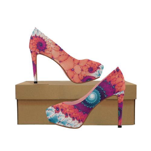 Soft Petals Glass Flower Spiral Women's High Heels (Model 044)