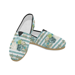 Teal Floral Shoes, Glitter Stripes Unisex Casual Shoes (Model 004)