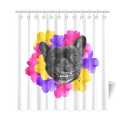 """Frenchie Pansies Shower Curtain 69""""x72"""""""