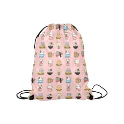 "pink Medium Drawstring Bag Model 1604 (Twin Sides) 13.8""(W) * 18.1""(H)"