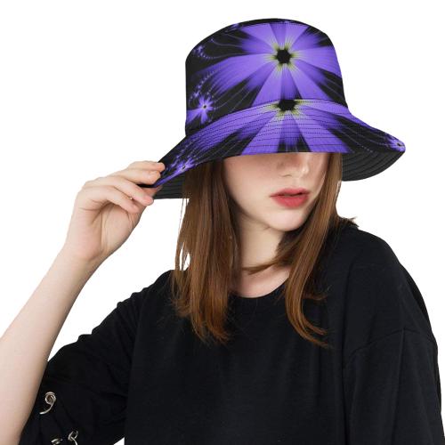 Purple Flower Burst All Over Print Bucket Hat