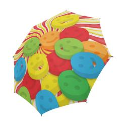 Bold swirls of magical candy joy smiley faces Semi-Automatic Foldable Umbrella (Model U05)
