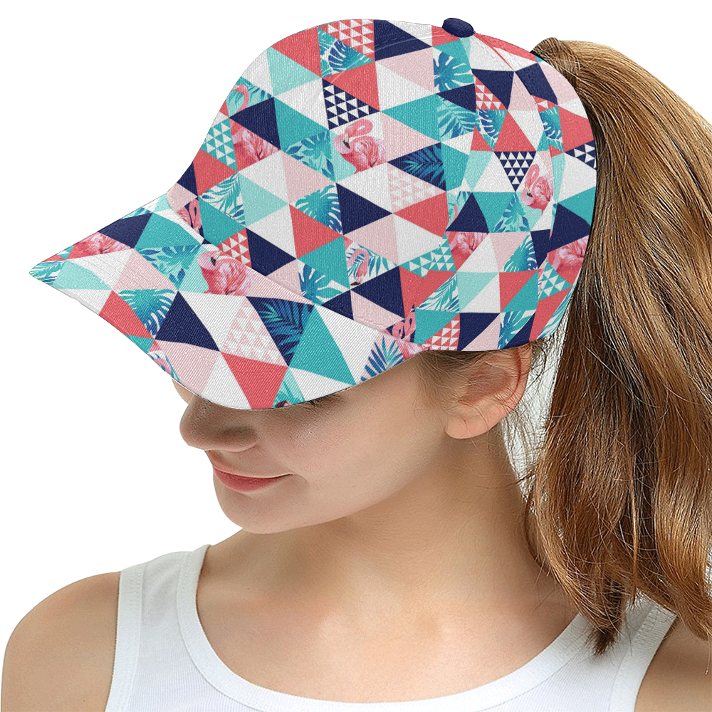 Flamingo Triangle Pattern All Over Print Snapback Hat D