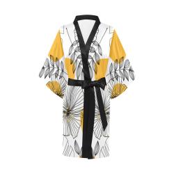Tropical Leaves Kimono, Flowers Kimono Robe